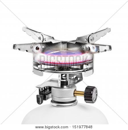 Portable gas burner isolated on white background shot with selective focus