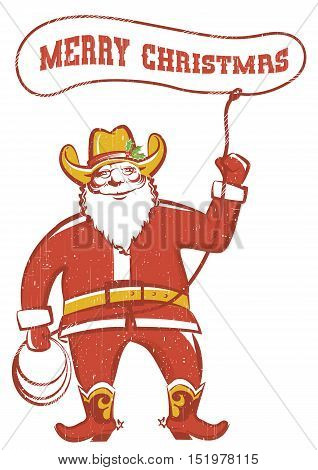Santa Claus In Coywboy Boots  Twirling A Lasso