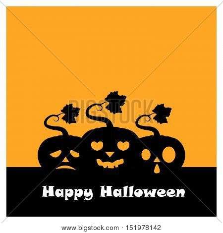 Halloween Pumpkin Group Silhouette With Happy Halloween Text Version Two