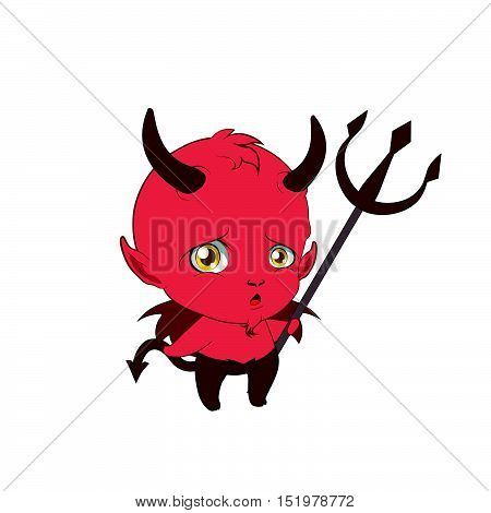 Little cute devil pouting and holding a pitchfork