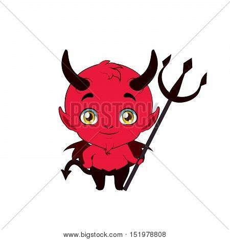 Illustration Of A Cute Little Devil With A Pitchfork