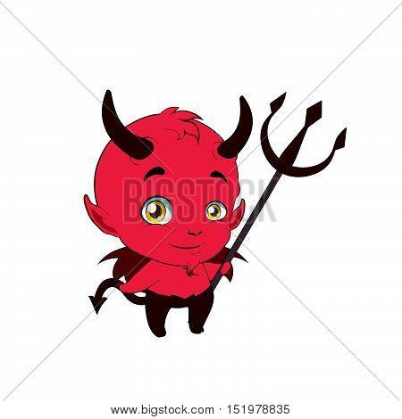 Little cute devil holding a pitchfork illustration art