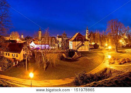 Town of Varazdin evening skyline view northern Croatia