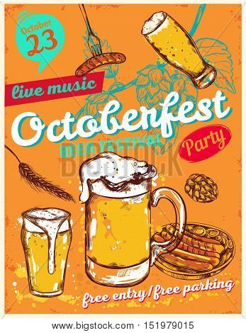 October fest poster with date of the festival cups of beer and headlines vector illustration