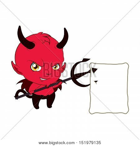 Little Devil Holding Up A Note With His Pitchfork