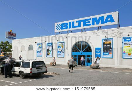 Alby, Sweden - July 12, 2013: Exterior of the  Biltema retail store with car spare parts for do it your self.