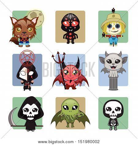 Set of 9 different Halloween monster mascots