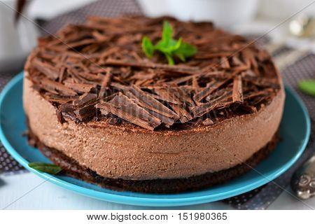 Chocolate cheesecake with mascarpone chocolate biscuit and ganache