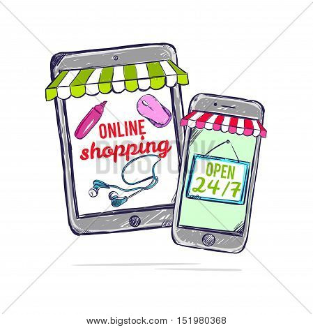 Colored online shop concept with smartphone tablet and application for purchase included vector illustration