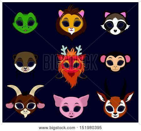 Halloween masks of 9 different animal species set  4