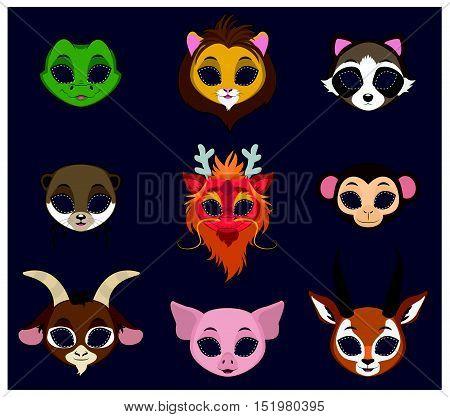 Halloween masks of 9 different animal species set  4