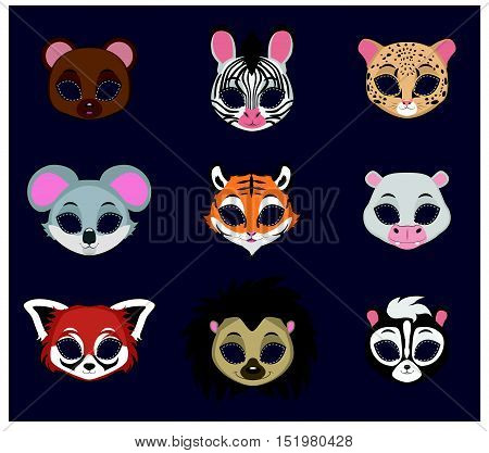 Halloween mask of 9 different animal species set  2