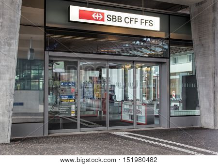 Wallisellen, Switzerland - 9 October, 2016: entrance to the Swiss Federal Railways office at the Wallisellen railway station. Swiss Federal Railways is the national railway company of Switzerland.
