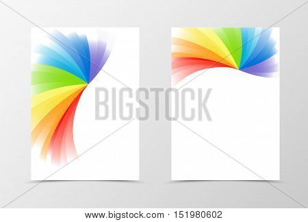 Rainbow flyer template design. Abstract flyer template in rainbow color. Spectrum flyer design. Vector illustration