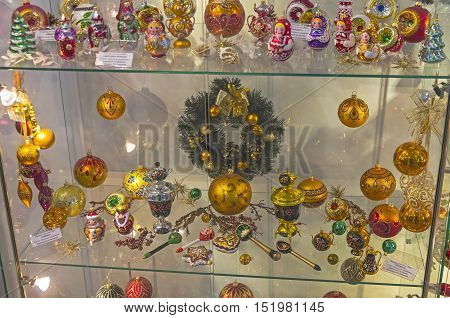 KLIN RUSSIA - JANUARY 16 2016: Museum of Christmas toys. Modern Christmas toys made in the Russian folk tradition.