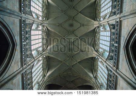 Interior of St. Vitus Cathedral in Prague Czech Republic
