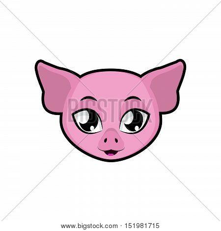 Pig portrait illustration art for multiple purposes