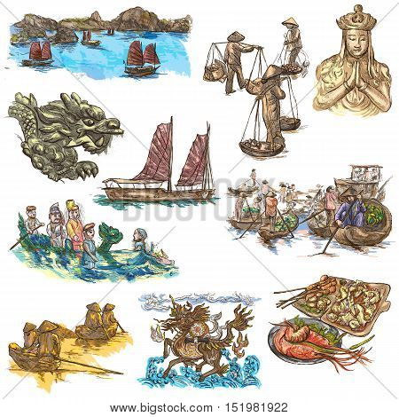 Travel seriesVIETNAM. Socialist Republic of Vietnam. Pictures of Life. Collection of an hand drawn illustrations set. Drawing on white.