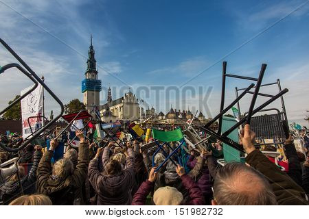 Czestochowa Poland - October 15 2016: United Atonement all-day prayer meeting people from all over Polish who repented of his sins and his compatriots before the top Jasna Gora. Tender: Leave the comfortable chairs and go ...!