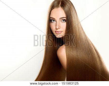 Beautiful brunette girl  model with long straight hair