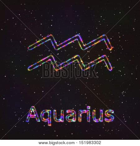 Astrology Shining Symbol. Horoscope Sign. Zodiac Aquarius.