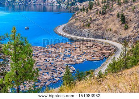 Majestic mountain lake in Canada. Okanagan Lake. Kelowna. British Columbia.