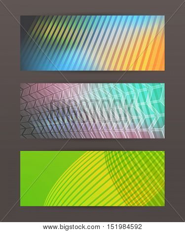 Set Horizontal Banner Headline Abstract Glow Lines15