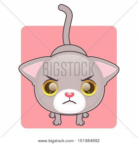 Cute gray cat being angry and cautious, vector