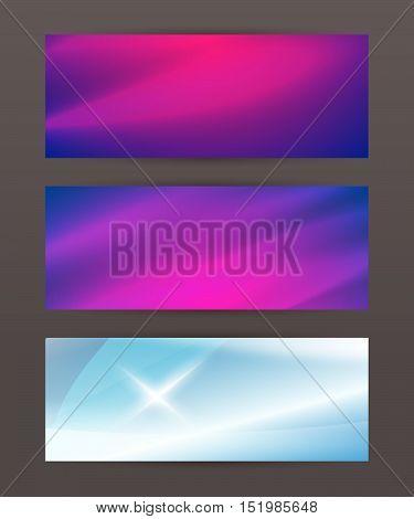 Set Horizontal Banner Headline Abstract Glow Lines19