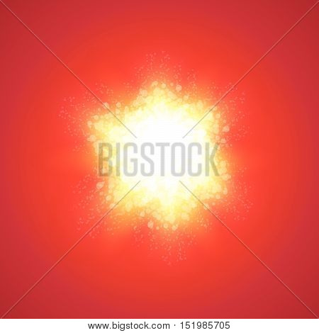 Red Background with Explode and Copy space. Vector Illustration with beams of light shiny effect.
