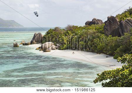 Tourists At Anse Source D'argent, La Digue, Seychelles