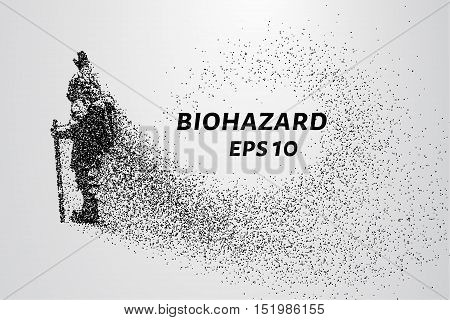 Man in chemical protection consists of particles. Chemical threat a man stands holding up a hand. Vector illustration