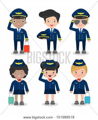 pilot and stewardess. set of officers and flight attendants Stewardesses isolated on white background, pilot and air hostess, flight attendant, pilot. Vector Illustration
