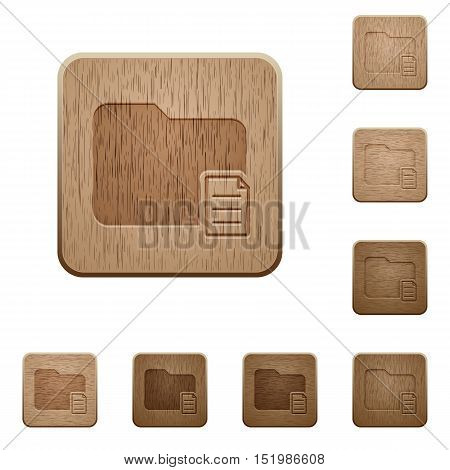 Set of carved wooden folder properties buttons in 8 variations.