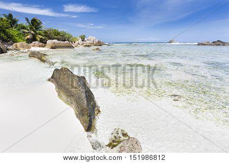 White Beach With Granite Rocks, La Digue, Seychelles