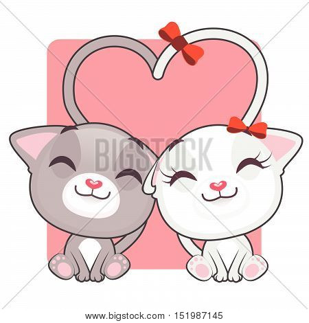 Cute kitties forming a heart with their tails