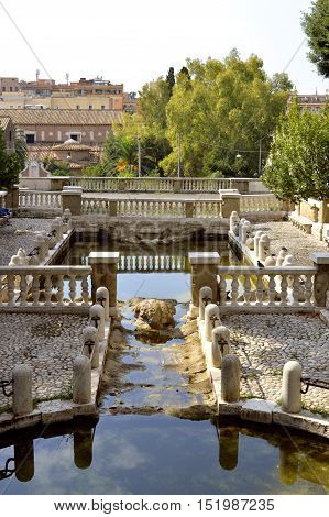 Rome Italy - September 11 2016 : The Nymph Fountain in park of Colle Oppio Rome