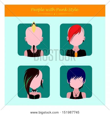 Four avatars of people with punk style