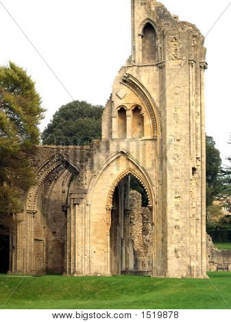 Glastonbury Abbey Set Among Noble Trees