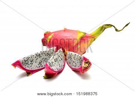 pitaya dragon fruit slices isolated on white background