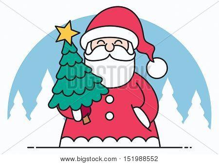 Thin line art flat design of Santa Claus bringing Christmas tree.