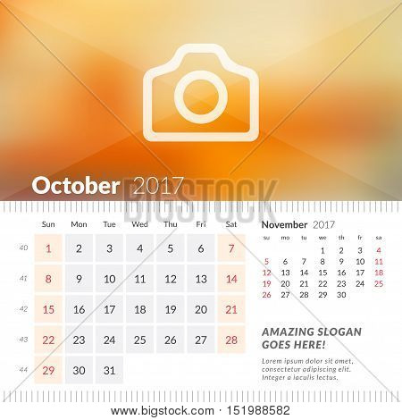 October 2017. Desk Calendar For 2017 Year. Week Starts Sunday. 2 Months On Page. Vector Design Print