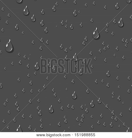 Dark water transparent drops seamless pattern. Rain drops. Condensed water background. Water drops scattered across the dark surface. Water drops seamless background. Vector illustration