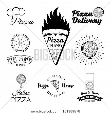Pizza. Italian Food. Food delivery. The Pizza Restaurant. Set of Labels and Badges. Vector Illustration