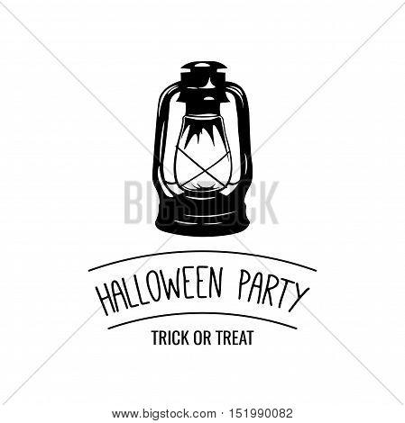 Kerosene lantern Halloween Party Badge. Postcard Sample. Vector Illustration