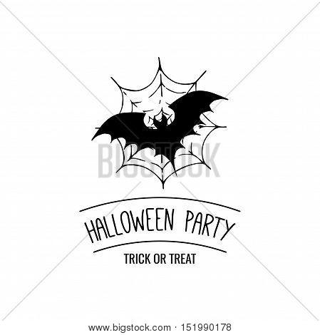 Bat on spider web. vector illustration. Halloween Party Badge. Halloween Lable