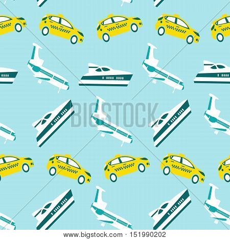 Vector seamless pattern with color transport concept