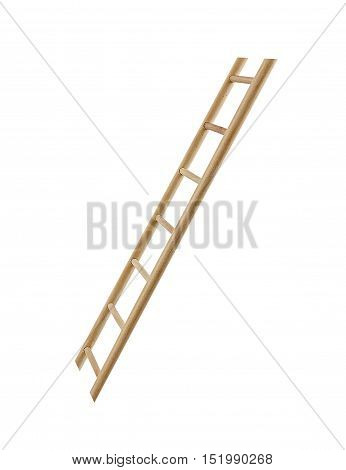 Wooden ladder isolated isolated on a white background.