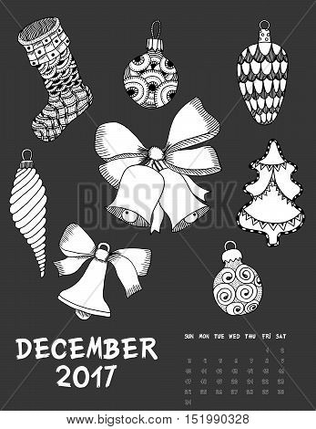 December 2017 calendar Zendoodle style, start on sunday, Set of Christmas toy and bells. Patterned zentangle, black and white. For Print anti-stress coloring books for different ages peoples.