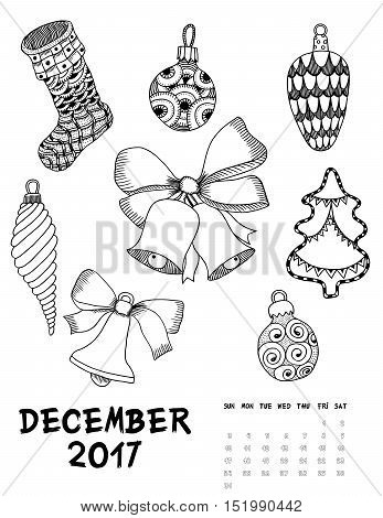 December 2017 calendar Zendoodle style, start on sunday, Set of abstract flowers. Patterned zentangle, black and white. For Print anti-stress coloring books for different ages peoples.